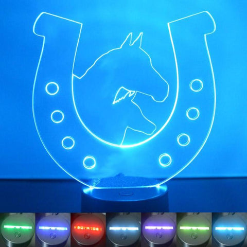 2 Horses in Horseshoe Colour Changing LED Acrylic Light - Suave Petal