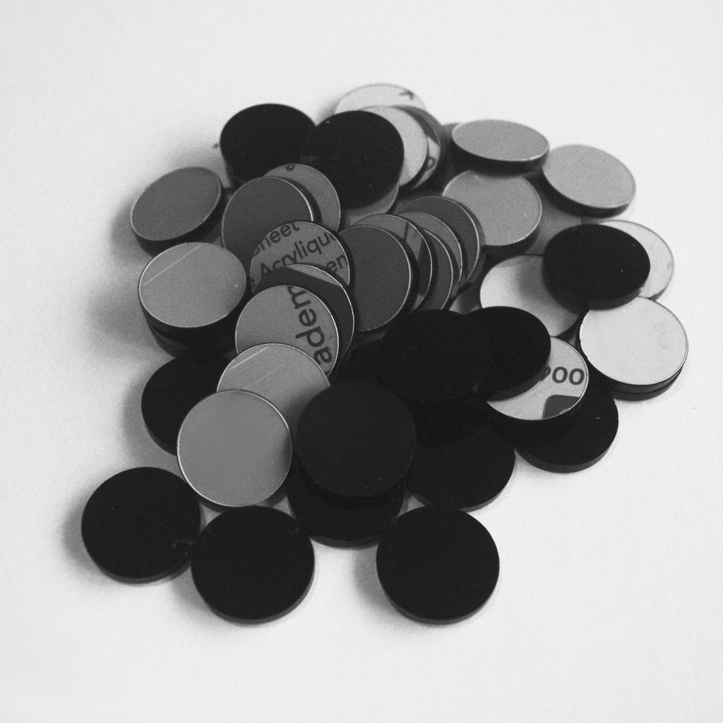Black 5cm Round Circle Acrylic Mosaic Tiles