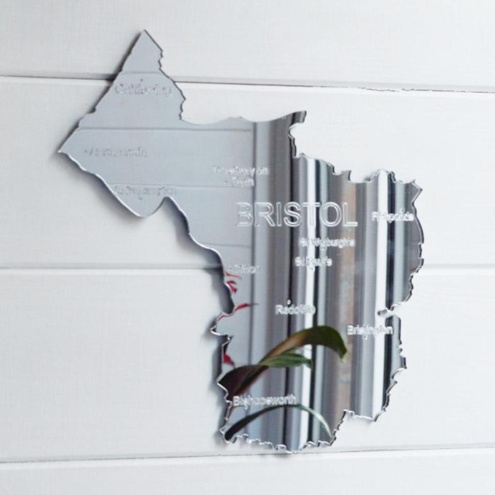 County Map of BRISTOL UK Engraved Acrylic Mirror - Suave Petal