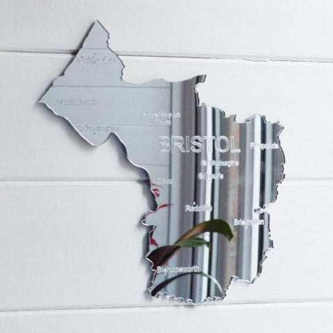County Map of BRISTOL UK Engraved Acrylic Mirror