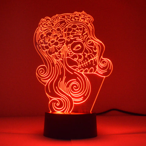 Female Flower Candy Skull Colour Changing LED Mini Acrylic Light