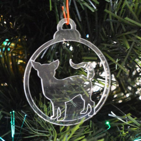 Dog Bauble Clear Acrylic Christmas Decorations 6pk - Standing Chihuahua - Suave Petal