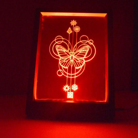 Decorative Circles Butterfly Colour Changing RC LED Mirror Light Frame - Suave Petal