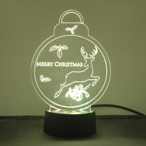 Christmas Bauble with Mistletoe and Reindeer Colour Changing LED Acrylic Light - Suave Petal