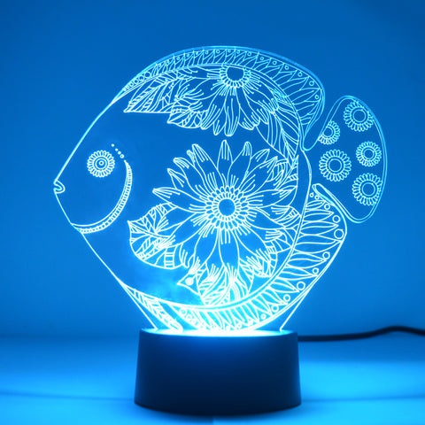 Floral Flower Fish Colour Changing LED Mini Acrylic Light - Suave Petal