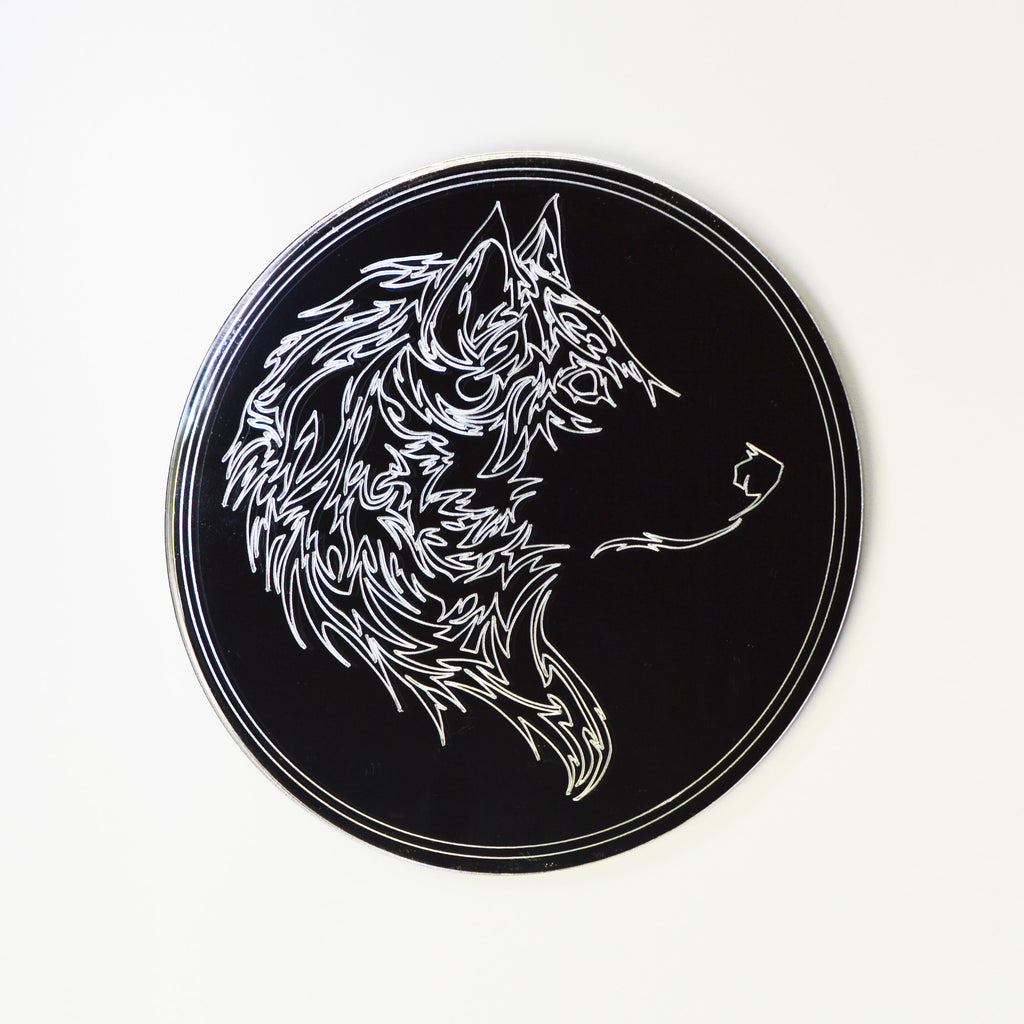 Stencil Wolf Head Engraved on Circle Acrylic Mirror - Suave Petal