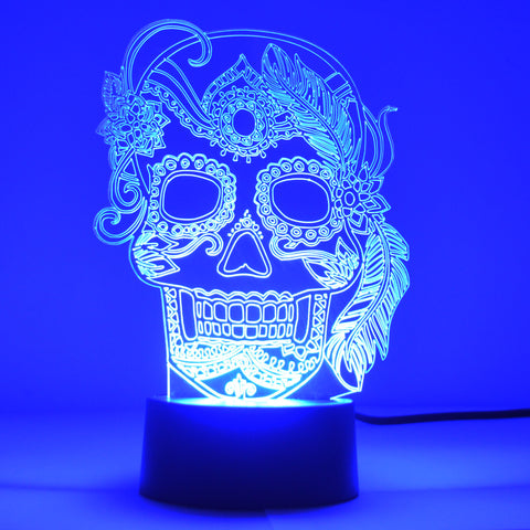 Girl Feather Candy Day of The Dead Candy Skull Colour Changing LED Acrylic Light