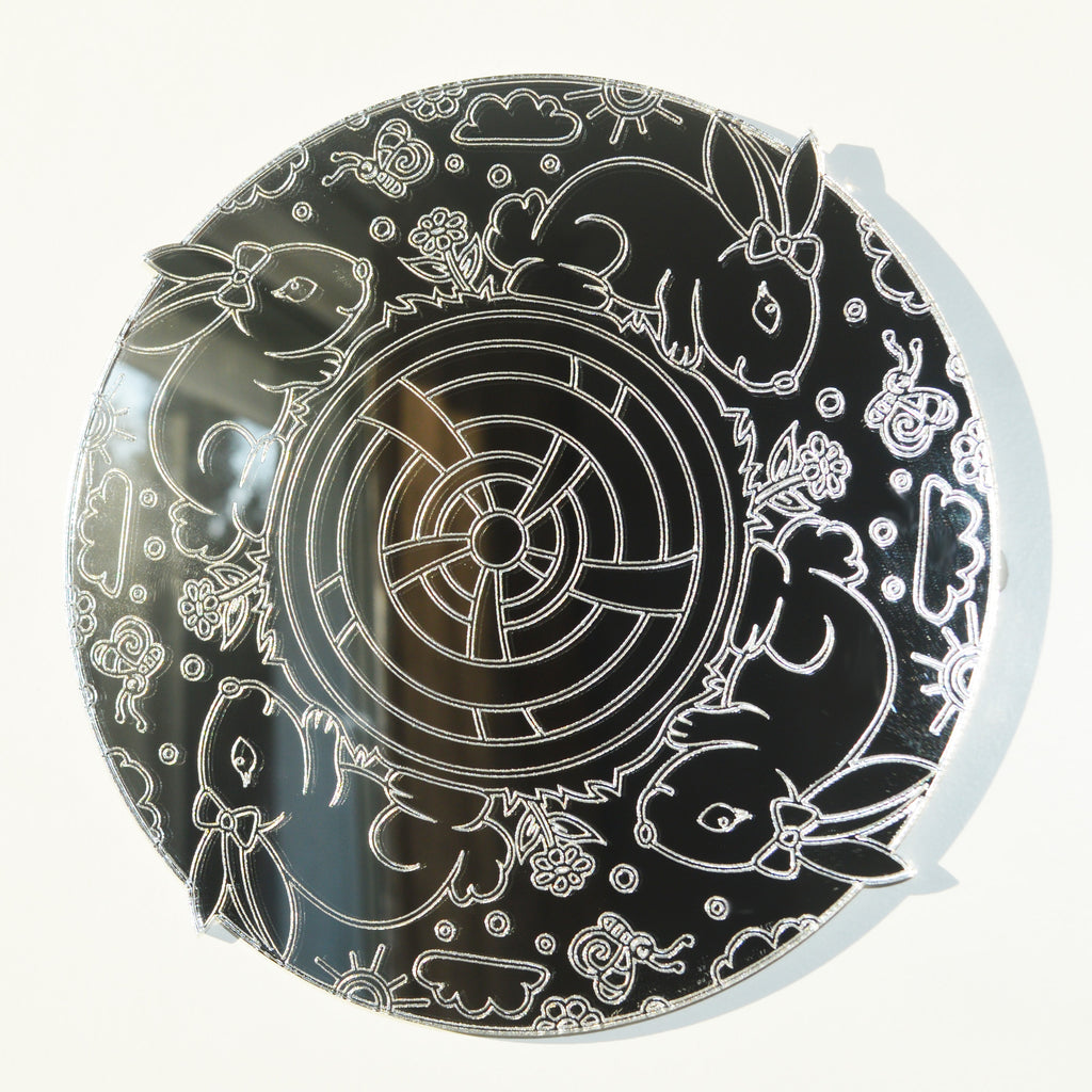 Mandala Bunnies Circle Engraved Acrylic Mirror
