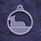 Dog Bauble Clear Acrylic Christmas Decorations 6pk - Lying Chihuahua - Suave Petal