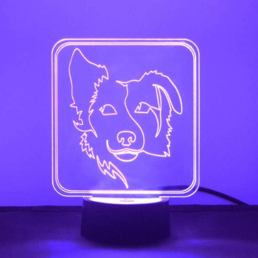 Border Collie Silhouetted Face Colour Changing LED Acrylic Light - Suave Petal