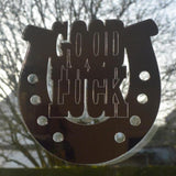 Good Luck Horse Shoe Engraved Acrylic Mirror - Suave Petal