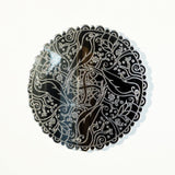 Mandala Bird Circle Engraved Acrylic Mirror