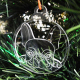 Dog Bauble Clear Acrylic Christmas Decorations 6pk - French Bulldog Face - Suave Petal