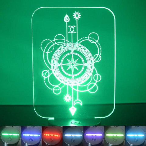 Compass Decorative Rectangle Colour Changing LED Acrylic Light - Suave Petal