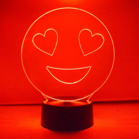 Smiley Emoji Colour Changing LED Acrylic Light - Heart Eyes