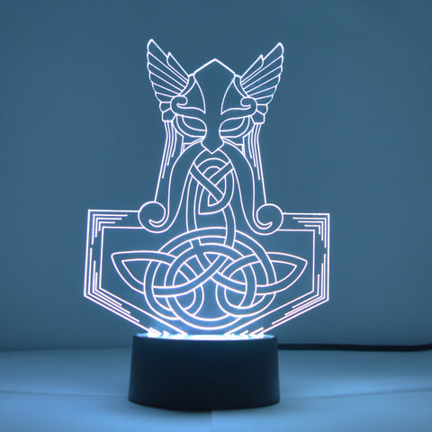 Norse Mythology Mjölnir Thors Hammer Colour Changing LED Acrylic Light - Suave Petal