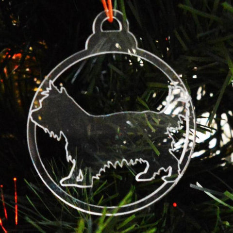 Dog Bauble Clear Acrylic Christmas Decorations 6pk - Cairn Terrier - Suave Petal