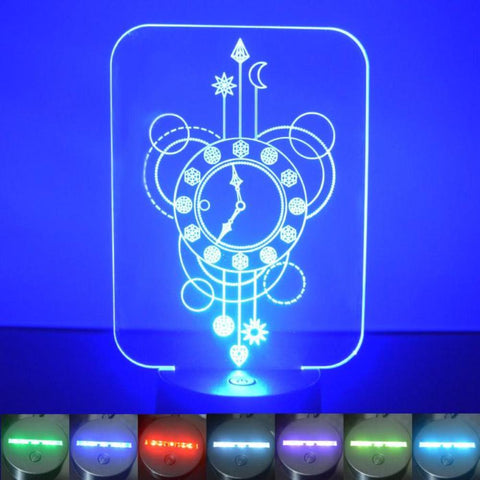 Clock Decorative Rectangle Colour Changing LED Acrylic Light - Suave Petal
