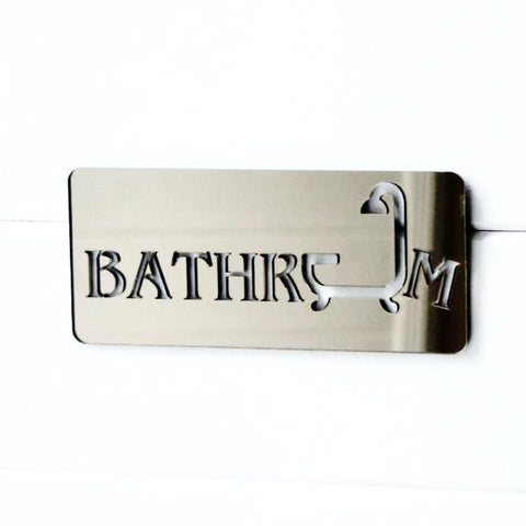 Bathroom & Shower Bronze Acrylic Mirrored Door Sign - Suave Petal