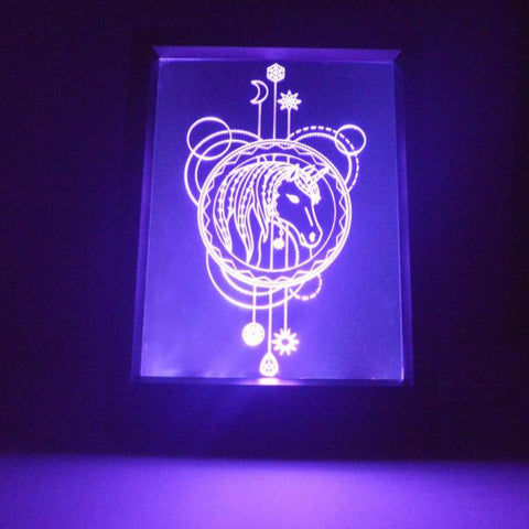 Decorative Circles Unicorn Colour Changing RC LED Mirror Light Frame