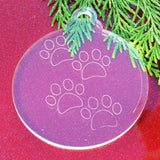 6pk Paw Prints Clear Acrylic Christmas Decorations - Suave Petal