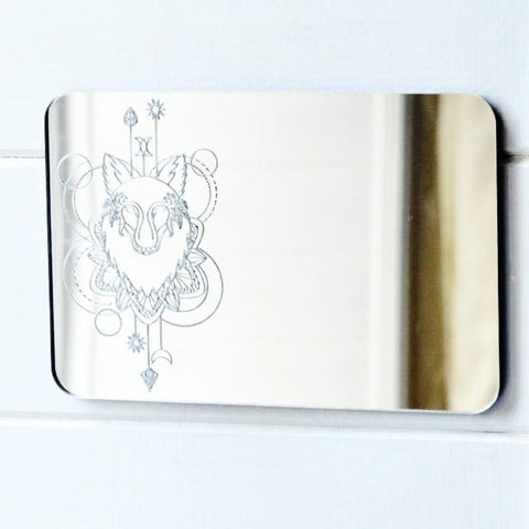 Wolf Head Decorative Rectangle Acrylic Mirror - Suave Petal