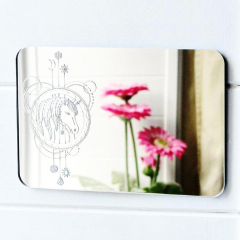 Unicorn Head Decorative Rectangle Acrylic Mirror - Suave Petal