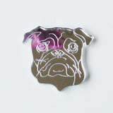 Pug Face Dog Mini Craft Sized Acrylic Mirrors (10Pk) - Suave Petal