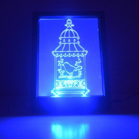 Single Bird Cage Colour Changing Remote Control LED Light Frame - Suave Petal