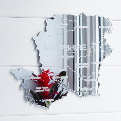 County Map of HAMPSHIRE UK Engraved Acrylic Mirror