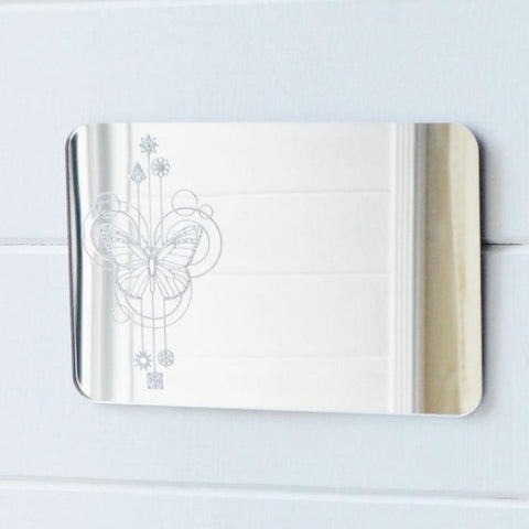 Butterfly Decorative Rectangle Acrylic Mirror - Suave Petal