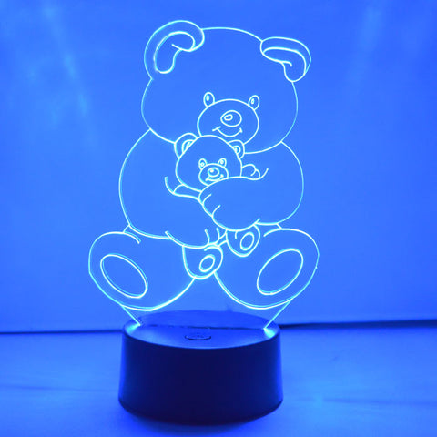 Teddy and Baby Bear LED Acrylic Light - Suave Petal