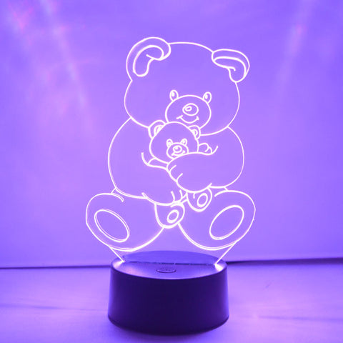 Teddy and Baby Bear LED Acrylic Light