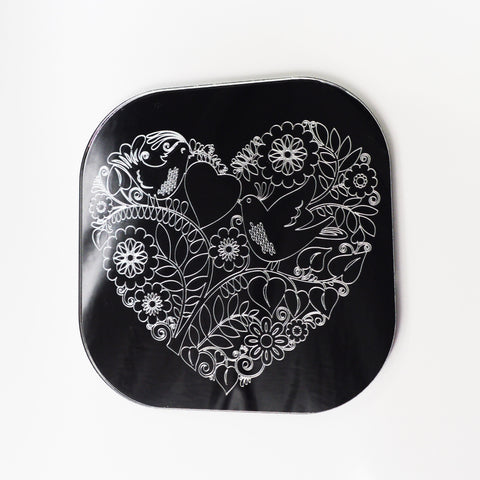 Love Birds on Heart Square Acrylic Mirror - Suave Petal