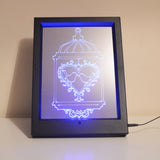 Two Love Birds Cage Colour Changing Remote Control LED Light Frame - Suave Petal