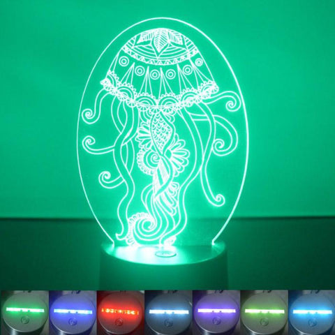 Decorative Jellyfish Oval Colour Changing LED Acrylic Light - Suave Petal