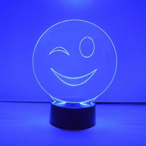 Smiley Emoji Colour Changing LED Acrylic Light - Wink - Suave Petal
