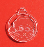6pk Santa Hat Cat Clear Acrylic Christmas Decorations - Suave Petal