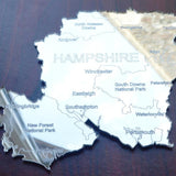 County Map of HAMPSHIRE UK Engraved Acrylic Mirror - Suave Petal
