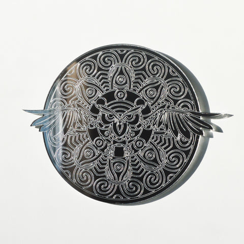 Mandala Flying Owl Circle Engraved Acrylic Mirror