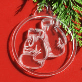 6pk Boxing Gloves Clear Acrylic Christmas Decorations - Suave Petal
