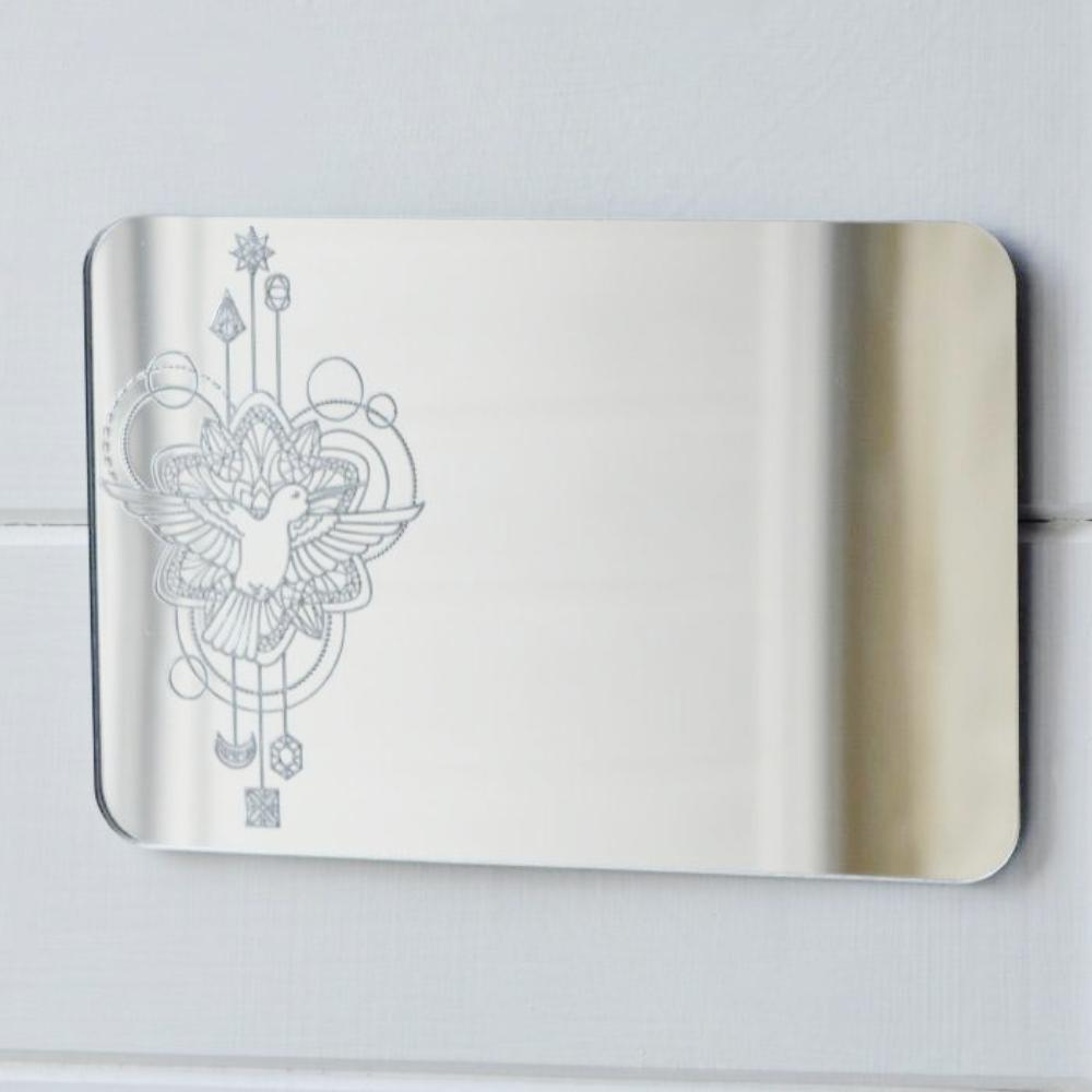 Bird Flying Decorative Rectangle Acrylic Mirror - Suave Petal