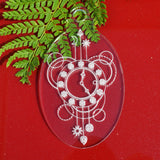 6 PK Clock Time Oval Clear Acrylic Christmas Decorations - Suave Petal
