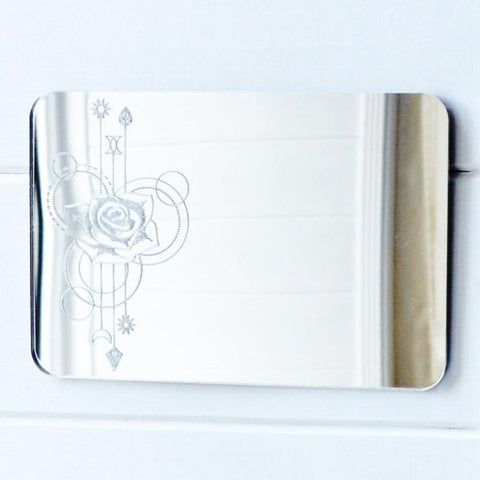 Rose Decorative Rectangle Acrylic Mirror