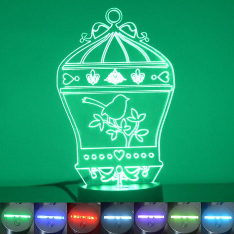 Bird Cage with Fleur de lis Colour Changing LED Acrylic Light - Suave Petal