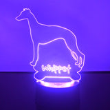 Whippet Dog Colour Changing LED Acrylic Light - Suave Petal