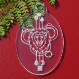 6 PK Lion Oval Clear Acrylic Christmas Decorations - Suave Petal