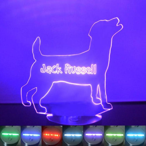 Jack Russell Dog Colour Changing LED Acrylic Light