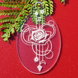 6 PK Rose Oval Clear Acrylic Christmas Decorations - Suave Petal