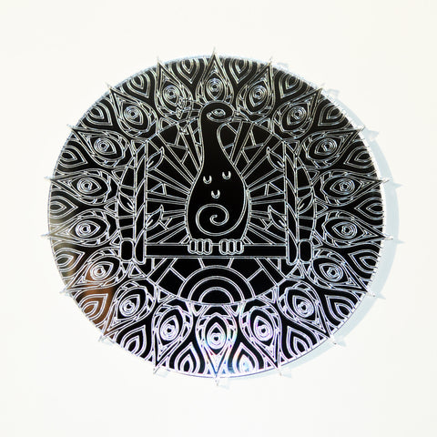 Mandala Peacock Circle Engraved Acrylic Mirror